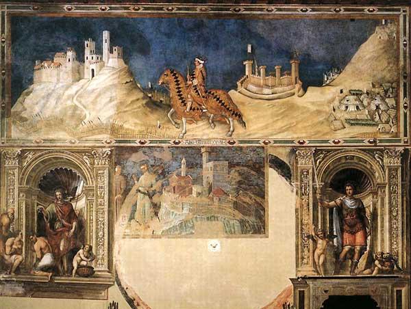 Simone Martini: Portrait équestre de Guidoriccio da Fogliano. 1328-1330. Fresque, 340 x 968 cm. Sienne, Palazzo Pubblico