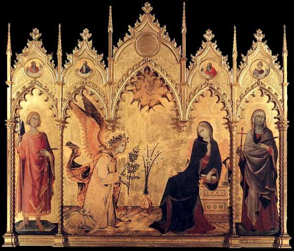 Simone Martini: l'Annonciation et deux Saints. 1333. Tempera sur bois, 184 x 210 cm. Florence, les Offices