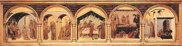 Simone Martini: retable de Saint Louis de Toulouse: prédelle. Vers 1317. Tempera sur bois, 56 x 38 cm (sans la prédelle). Naples, Museo Nazionale di Capodimonte