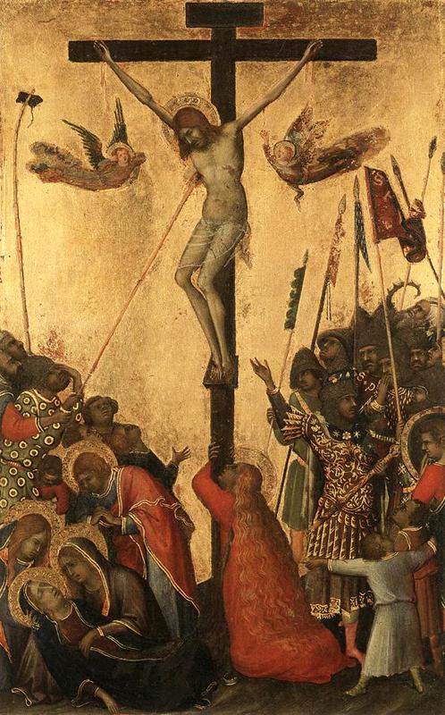 Simone Martini: le polyptyque Orsini: la crucifixion. 1333. Tempera sur bois, 23,5 x 14,5 cm. Anvers, Koninklijk Museum voor Schone Kunsten