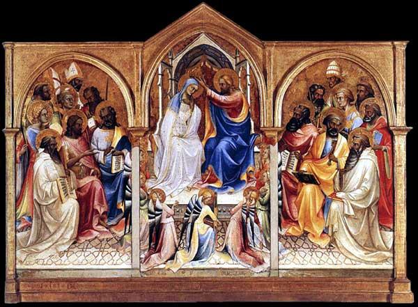 Lorenzo Monaco�: le couronnement de la Vierge avec saints. Vers 1414. Tempera � l�oeuf sur peuplier, 182 x 105 cm (gauche), 217 x 115 cm (centre), 179 x 102 cm (droit). Londres, National Gallery