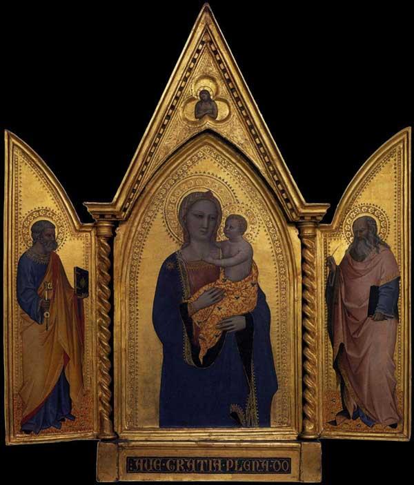 Nardo di Cione: Madone et enfant avec saint Pierre et saint Jean l'évangéliste. Vers 1360. Tempera sur panneau de bois, 49,1 x 15,3 cm. Washington, National Gallery of Art