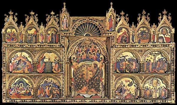 Paolo Veneziano: Polyptyque de Santa Chiara. Vers 1350. Tempera sur panneau de bois, 167 x 285 cm. Venise, Gallerie dell'Accademia