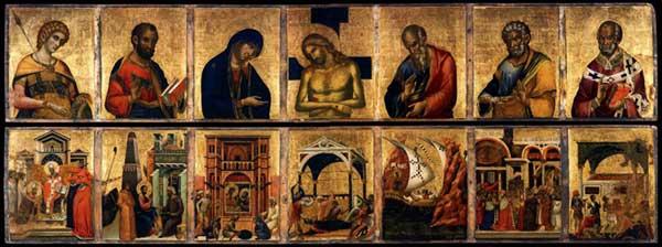 Paolo Veneziano: Retable de Saint Marc, vue d'ensemble. 1345. Deux panneaux de bois, 59 x 325 (chaque panneau). Venise, Basilique saint Marc