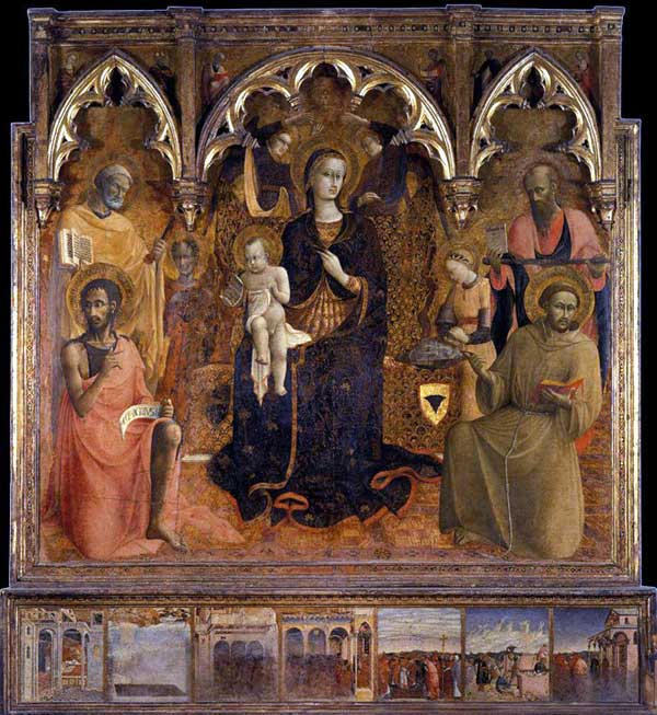 Sassetta: La vierge à l'enfant et des saints. 1430-1432. Tempera sur panneau, 240 x 216 cm. Florence, Palazzo Pitti, Collection Contini Bonacossi