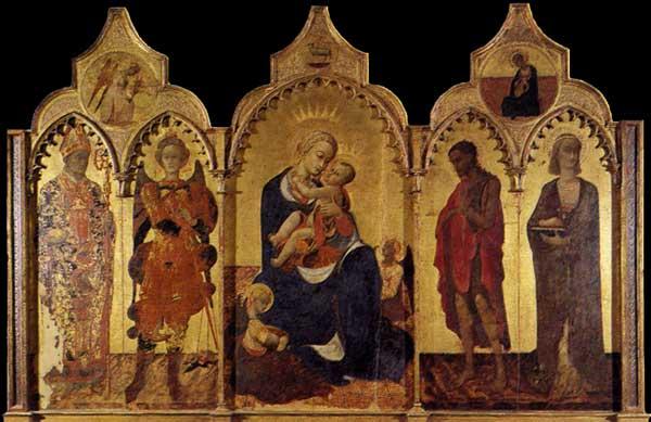 Sassetta: Vierge à l'enfant et quatre saints. Vers 1435. Tempera sur bois, 132 x 52 cm. Cortone, Musée Diocésain