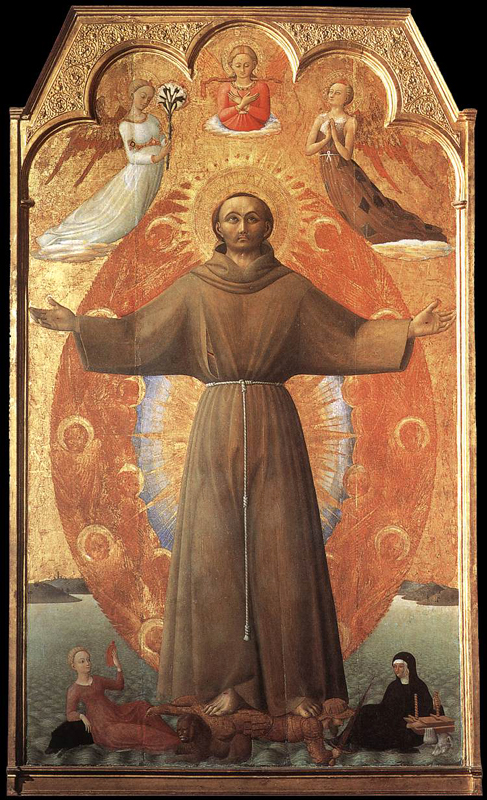 Sassetta: l'extase de Saint François. 1437-1444. Tempera sur bois, 190 x 122 cm. Settignano, Villa i Tatt