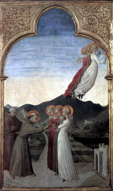 Sassetta: le mariage de saint François avec Dame Pauvreté. Panneau de la face arrière du retable de Borgo san Sepolcro. 1437-1444. Tempera à l'oeuf sur peuplier, 88 x 52 cm. Chantilly, Musée Condé