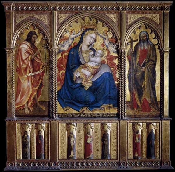 Taddeo di Bartolo: Vierge à l'enfant aves saint Jean Baptiste et saint André. 1395. Tempera sur panneau de bois, 114 x 72 cm. (panneau central), 105 x 43 cm. (chaque volet). Budapest, Musée des beaux Arts