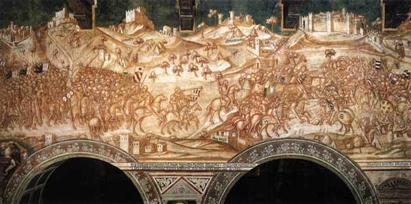 Lippo Vanni: La victoire de l'armée siennoise à Val di Chiana en 1363. Vers 1364. Fresque. Sienne, Palazzo Publico