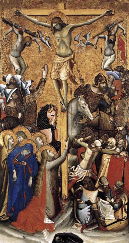 Vitale da Bologna: Crucifixion. Vers 1335. Tempera sur panneau de bois, 93 x 51 cm. Madrid, Museo Thyssen-Bornemisza