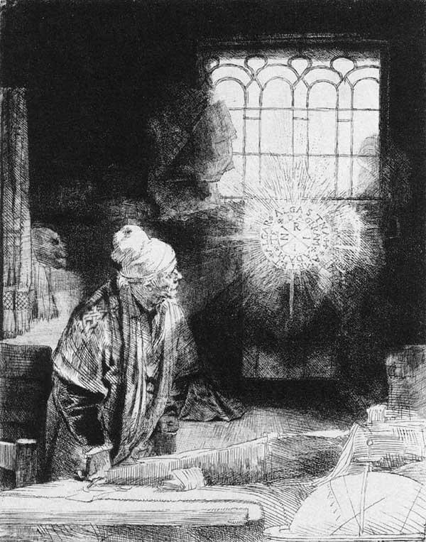 Rembrandt: le docteur Faust. 1650-1652. Eau forte, 209 x 161 mm. Amsterdam, Rijksmuseum