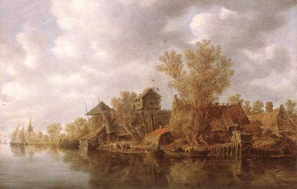 Jan van Goyen: village près de la rivière. 1636. Bois, 39,5 x 60 cm. Munich, Alte Pinakothek