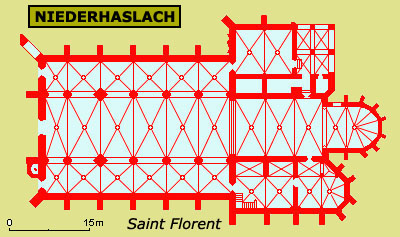 Plan de la collégiale saint Florent de Niederhaslach
