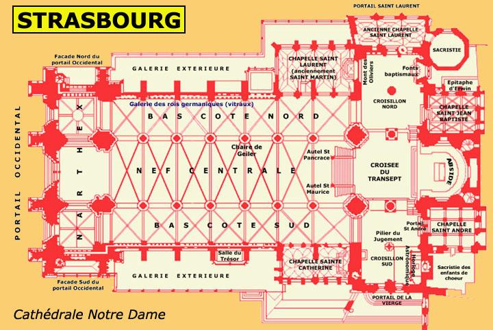 Art gothique: plan de la cathédrale Notre Dame de Strasbourg