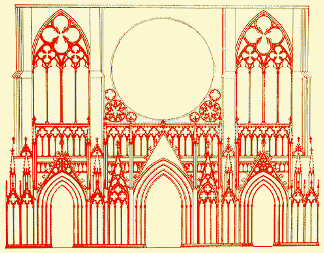 Strasbourg, cathédrale Notre Dame: projet primitif de la façade ou «Plan A
