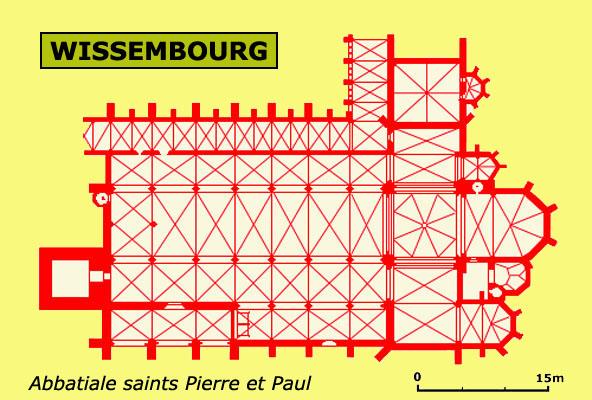 Plan de l'abbatiale de Wissembourg