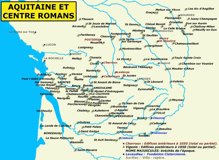 Carte de l'Aquitaine et du Centre de la France romans