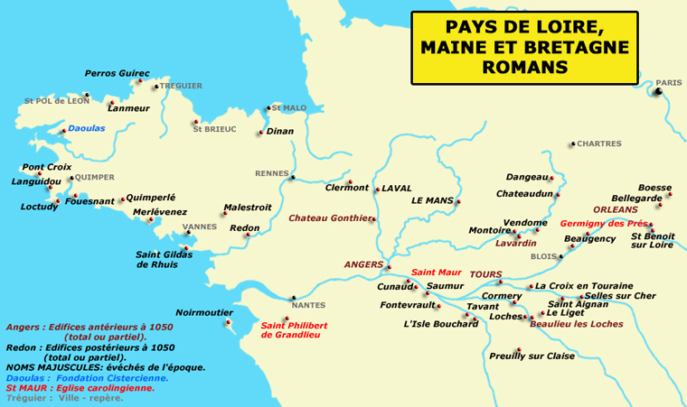 Carte du Pays de la Loire, du Maine et de la Bretagne romans