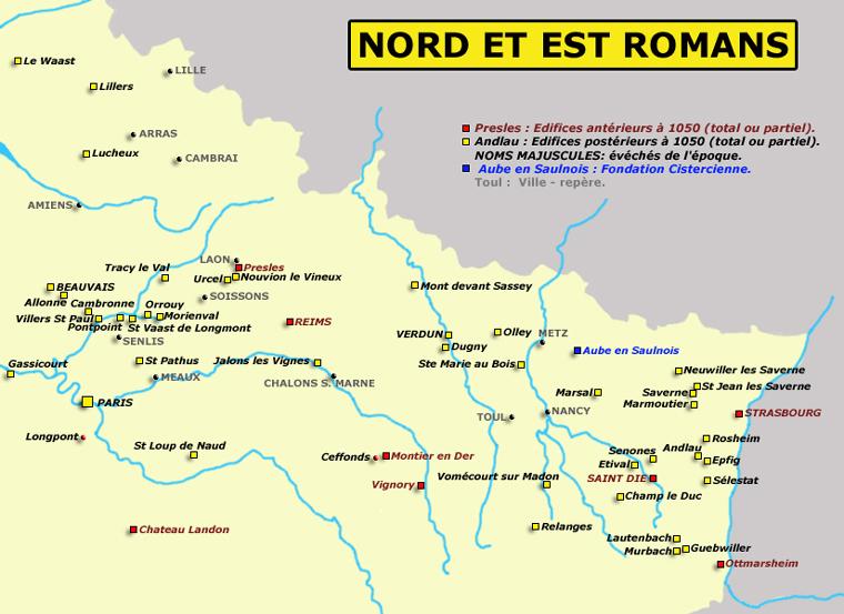 Carte du Nord et de l'est romans