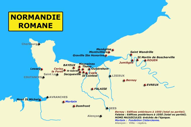 Carte de la Normandie romane