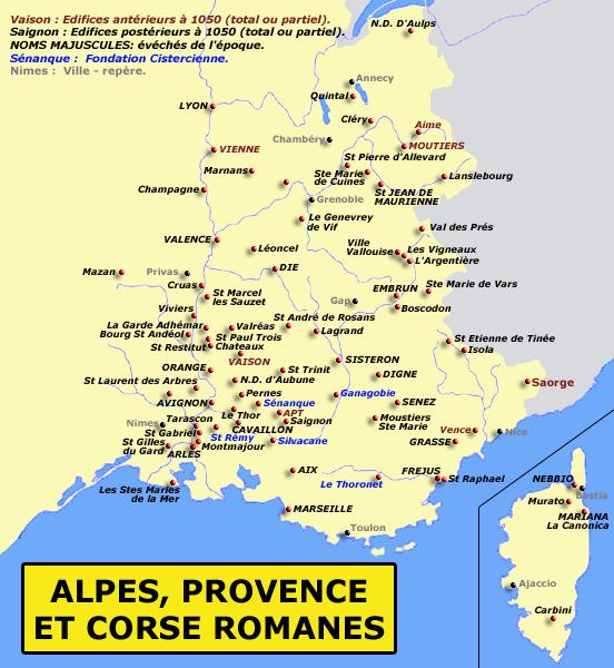 Carte de la Provence des Alpes et de la Corse romanes
