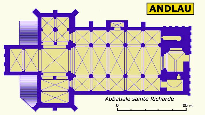Plan de l'abbatiale sainte Richarde d'Andlau