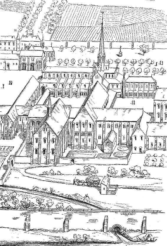 Restitution de l'abbaye de Cîteaux d'après Violet Leduc