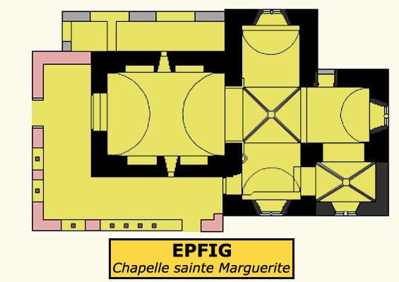 Plan de la chapelle sainte Marguerite d'Epfig