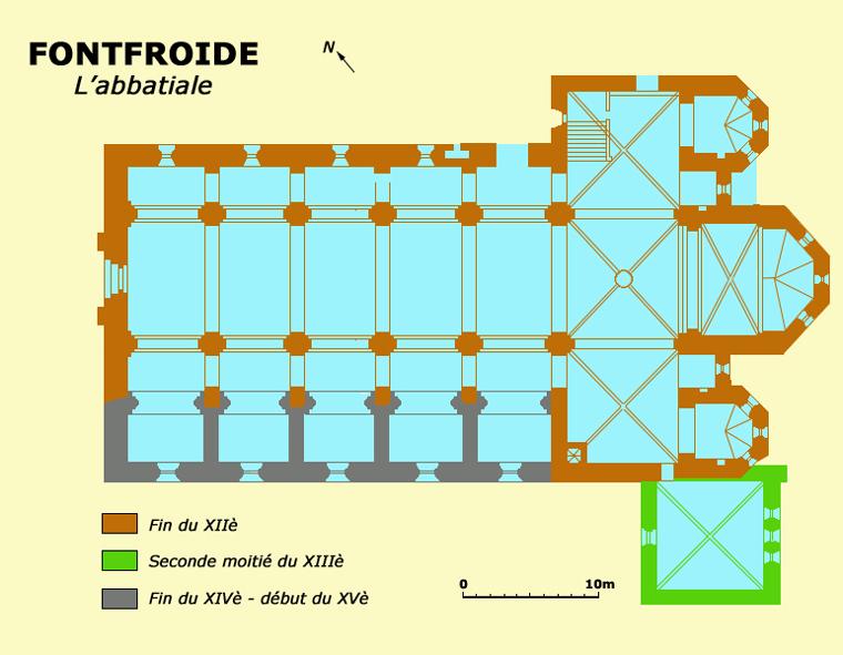 Plan de l'abbatiale cistercienne de Fontfroide dans l'Hérault
