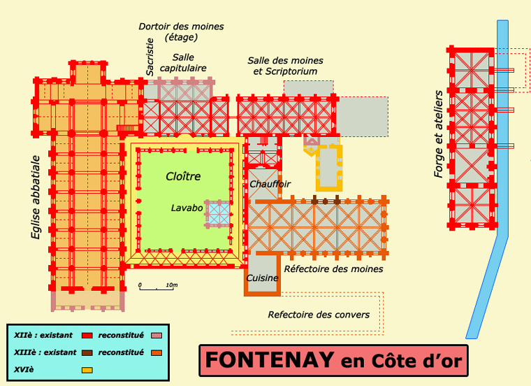 Plan de l'abbaye cistercienne de Fontenay en Côte d'Or