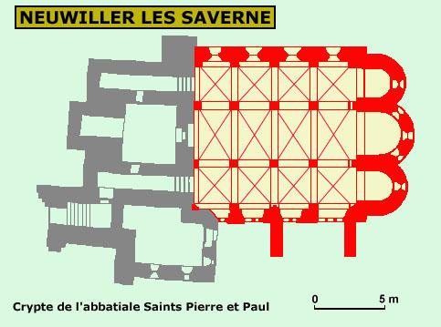 Plan de la crypte de l'église saints Pierre et Paul de Neuwiller les Saverne
