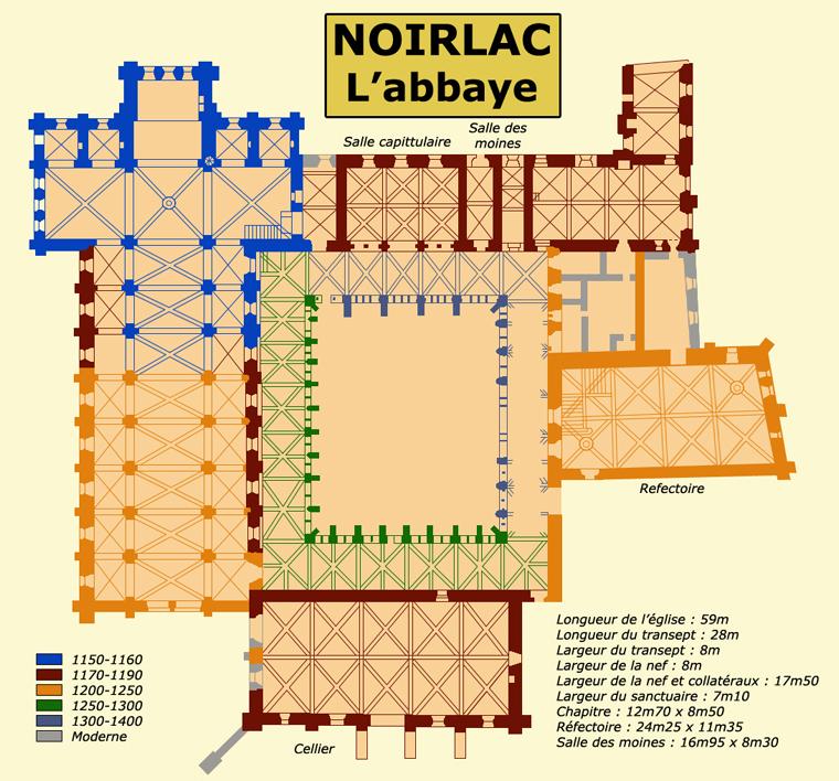 Plan de l'abbaye cistercienne de Noirlac dans le Cher