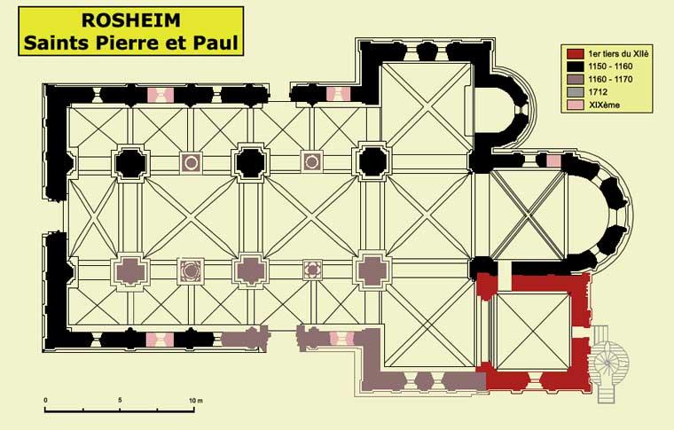 Plan de l'église saints Pierre et Paul de Rosheim