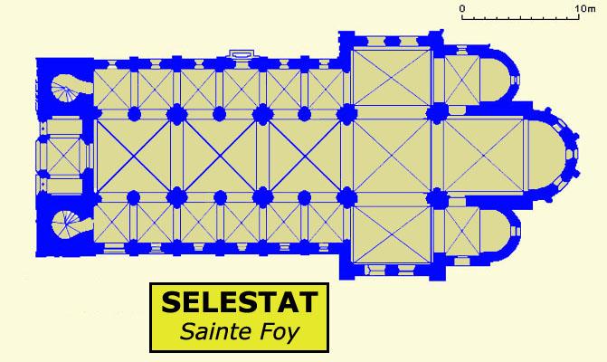 Plan de l'abbatiale sainte Foy de Sélestat