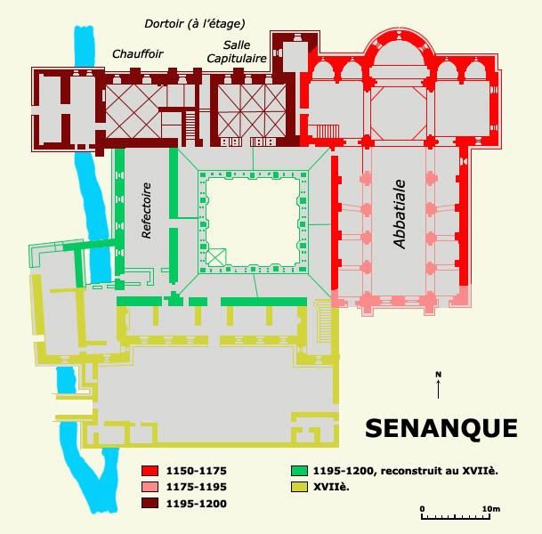 Plan de l'abbaye cistercienne de Sénanque dans le Vaucluse