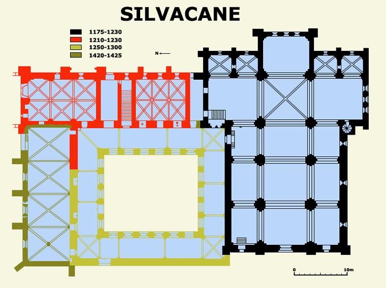 Plan de l'abbatiale cistercienne de Silvacane dans les Bouches du Rhône