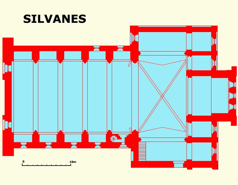 Plan de l'abbatiale cistercienne de Silvanès dans l'Aveyron