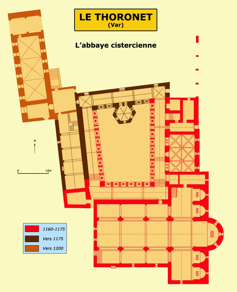 Plan de l'abbaye cistercienne du Thoronet dans le Var