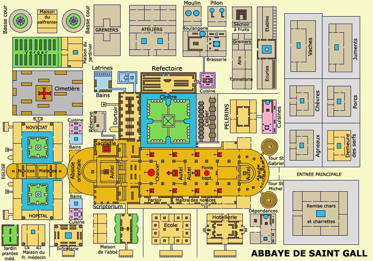 Abbaye de Saint Gall: plan de l'abbaye