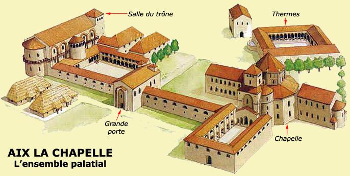 Aix la Chapelle: restitution de l'ensemble palatial du VIII-IXè siècle