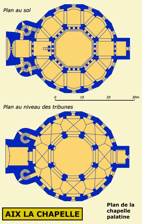 Aix la Chapelle: la chapelle palatiale: plan