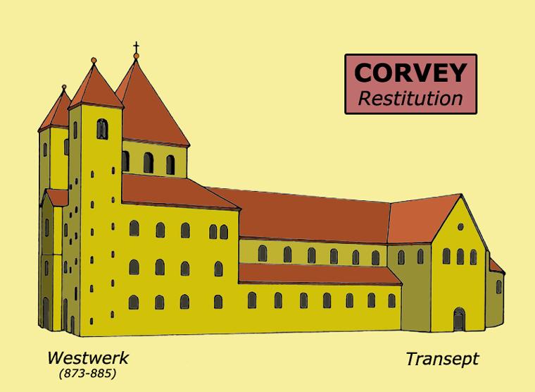 Corvey (Rhénanie-Westphalie): restitution de l'abbatiale