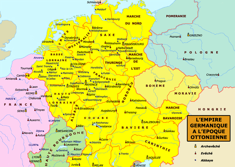 Carte de l'Europe sous les Otton