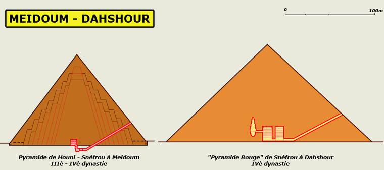 Meidoum – Dahshour: plans comparatifs des pyramides de Houni-Snéfrou à Meidoum et da le «pyramide rouge» de Snéfrou à Dahshour. IIIè – Ivè dynasties. (Site Egypte antique)