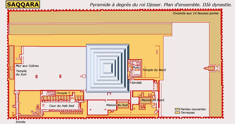 Saqqara: la pyramide à degrés et le complexe funéraire de Djoser. Plan d'ensemble. IIIè dynastie.  (Site Egypte antique)