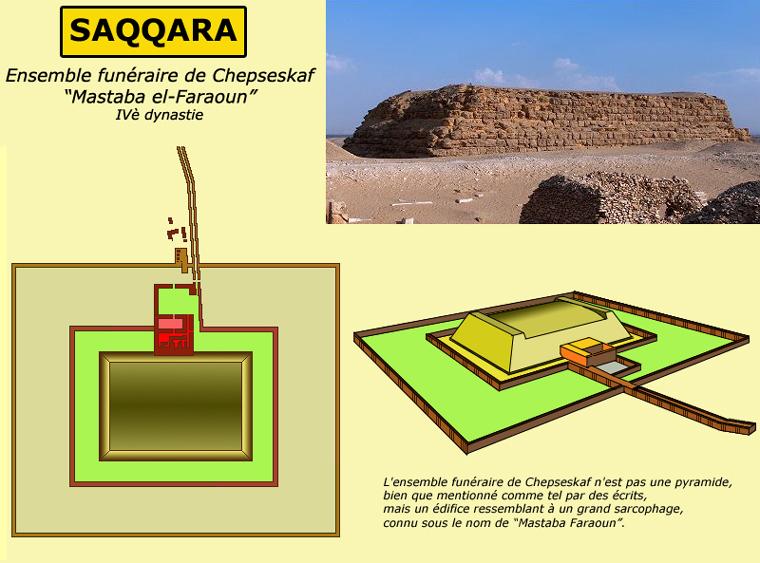 Saqqara: ensemble funéraire de Chepseskaf, dit «Mastaba el-Faraoun». IVè dynatie. (Site Egypte antique)