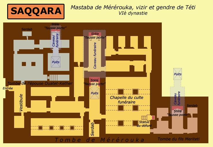 Saqqara: plan du mastaba du vizir Mérérouka, de son épouse et de son fils. VIè dynastie. (Site Egypte antique)