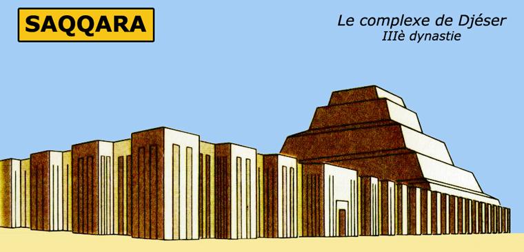 Saqqara: reconstitution du complexe funéraire du roi Djoser. IIIè dynastie. (Site Egypte antique)