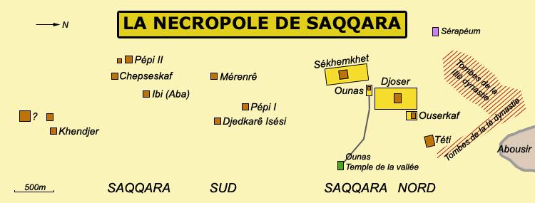 Saqqara: plan général du groupe nord et du groupe sud. (Site Egypte antique)